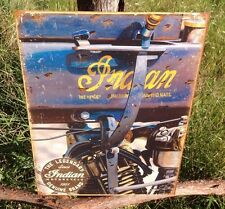 INDIAN MOTORCYCLE 1914 Jacobs Vintage Sign Tin Metal Wall Garage Rustic Old