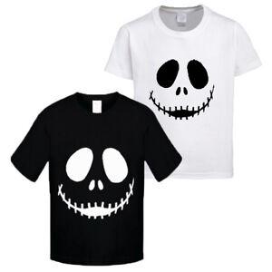 Kids New Halloween Scary Pumpkin face white print black short sleeve t-shirt/Tee