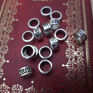 50 Tibetan Silver Dreadlock Beads Adjustable Hair Braid Cuff Clip 5mm Hole