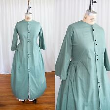 Green Cotton Wrapper Xxl / Plus Civil War Dress Costume 1860s Hoop Skirt