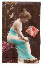 CPA ART PHOTO SEXY  -  NUE NUDE FEMME BRUNE ASSISE DANS SES PENSEES 1912 EM ~B22