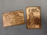 Vintage Kopper Kard Co. Statue of Liberty New York Copper Postcards - Two 2 New