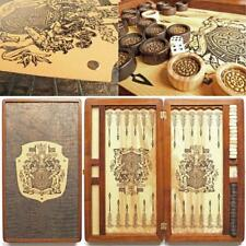 Dynasty Luxury Wooden Backgammon Set Leather Pieces Tournament Board Game New