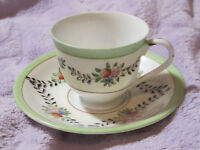 Vintage Hand Painted Porcelain Demi Cup and Saucer Made in Japan Delicate Floral