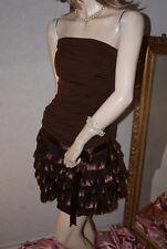 Edelchices Stretch - Kleid mit Satinjäckchen schokobraun gerafft wie neu  S/M