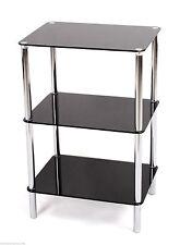 3tier Mensola in vetro unità di vetro Nero Chrome Frame Side / End TABLE HOME DISPLAY