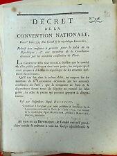 451 LOI & DECRET CONVENTION NATIONALE 1793 ÉNNEMI DE LA RÉPUBLIQUE PARIS