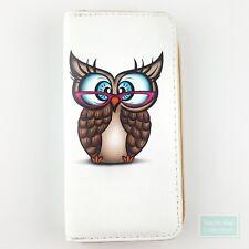 Animated Nerd Owl Zip-Around Clutch Cellphone Wallet Long for Women Ladies Teens