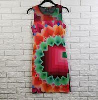 Desigual Sleeveless Sheath Bodycon Dress S Multi Color Margaret Preto Geometric