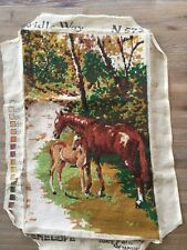 Vintage Needlepoint Bridle Way Horse Foal Penelope (r) England