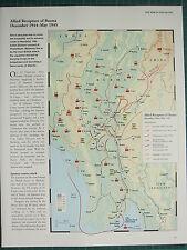 WW2 WWII MAP ~ ALLIED RECAPTURE OF BURMA DEC 1944 - MAY 1945 ATTACKS ADVANCE