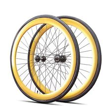 Fixie 700c Deep 45 mm Fixed  Front & Rear Wheels set  w Tire Tube Gold