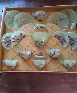 VINTAGE AKRO AGATE THE LITTLE AMERICAN MAID TEA SET WITH ORIGINAL BOX