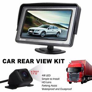 "4.3"" TFT LCD MONITOR+WATERPROOF 170° CAR REAR VIEW IR REVERSING PARKING CAMERA"