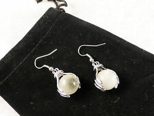 18k White Gold Plated Off White Ball held by Hands Earrings