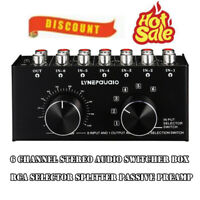 6 Channel Stereo Audio Switcher Box RCA Port Selector Splitter Passive Preamp
