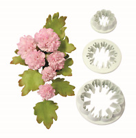 PME Set of 3 CARNATION Flower Plastic Icing Cut Out Cutters Sugarcraft Cake Dec