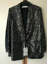 ZARA AW19 Sequin Blazer Jacket Lapel Collar 7765/050  Black Silver Medium M 10
