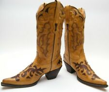 WOMENS STETSON 12-021-6102-0540 TAN BRN INLAID LEATHER COWBOY WESTERN BOOTS SZ 8