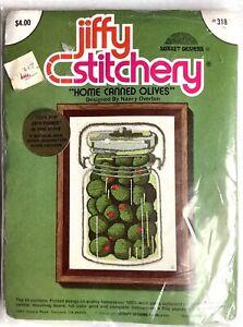 Vintage Jiffy Stitchery Home Canned Olives Crewel Kit Nancy Overton
