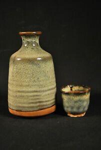 ANTIQUE SIGNED JAPANESE MATCHING SAKE JAR & CUP / TOKKURI / Ceramic Pottery