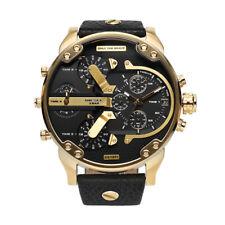 NEU Diesel DZ7371 Mr. Daddy XXL Herren Uhr Chronograph Leder Farbe: Gold Schwarz