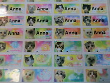 300 Cat Color Personalized Waterproof Name Stickers Daycare School Customized