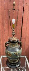HUGE ANTIQUE BRONZE CHAMPLEVE VASE LAMP