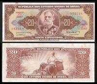 Brazil 20 CRUZEIROS Sign 11 ND (1962-63) P 178 UNC W.TONE