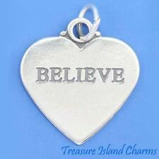 """""""BELIEVE"""" TWO-SIDED HEART .925 Solid Sterling Silver Charm Pendant MADE IN USA"""