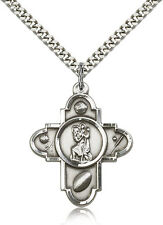 """FIVE WAY ST. CHRISTOPHER CATHOLIC / SPORTS """"PEWTER"""" MEDAL w/24"""" Heavy Chain"""