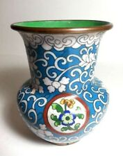 Antique Cloisonne Vase Flowers Blue Enamel on Bronze China Chinese Flower Motif