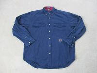 VINTAGE Tommy Hilfiger Button Up Shirt Adult Medium Navy Blue Crest Mens 90s