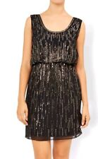 Monsoon Elize Black With Gold Sequin Short Dress Size 12 Bnwt