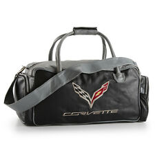 C7 Corvette Black and Gray Leather Duffle Bag