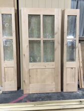 Knotty Alder 4 Lite Shaker Mission Style Entry Door with Sidelites