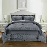 Jacquard 3 PCs Quilted Bedspread Set Bed Throw  Double,King,SuperKing /Dark Grey