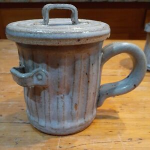 Pandemonium 1981 pottery mug  Rustic trash can mug fish bone
