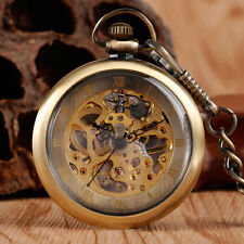 Retro Bronze Open Face Roman Numbers Mechanical Hand Winding Pocket Watch Chain
