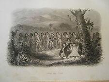 gravure Amérique  an 1850 Danse des Puris Brésil