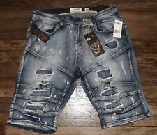 NEW MEN DENIM BLUE RIPPED SHORTS DISTRESSED SLIM FIT ACID WASH