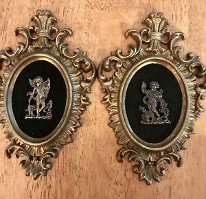 Pair Vintage Burwood Prod Co Ornate Gold Frames Cherubs On Black Velvet