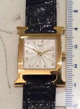 Hermes Heure H 1.285 orologio rettangolare nuovo oro 18 Kt cinturino cocco -40%
