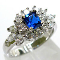 ATTRACTIVE SAPPHIRE PRINCESS CUT 925 STERLING SILVER RING SIZE 5-10