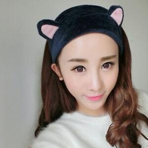 Women Soft Velvet Spa Headband Cat Ear Elastic Hair Band Facial Makeup Head Band
