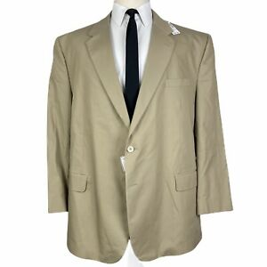 NEW Jos A Bank Spring Weight Sport Coat 52R Beige Khaki Cotton Poly Jacket $350