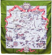 "HERMES Silk Scarf ""Les Chemins De L'Ile France"" by Perriere 1953 90cm VERY RARE"