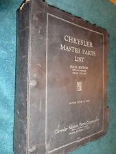1924-1933 CHRYSLER MASTER PARTS CATALOG / RARE ORIGINAL BOOK 27 28 29 30 31 32+