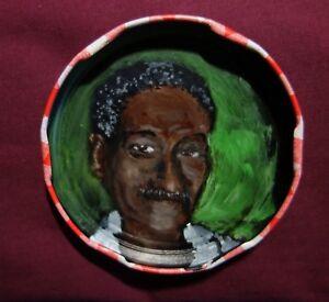 KUFARU MOUTON, Jam Jar Lid Portrait  New Orleans Drummer, Outsider Art PETER ORR