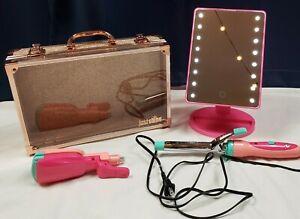 Justice Curling Iron w/Crimper Lighted Mirror Rose Gold Glitter Case Girls EUC!